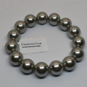 Charter Club Grey Pearl 14MM Stretch Bracelet